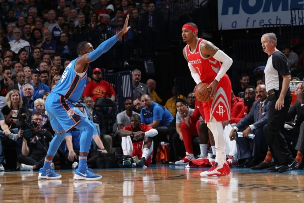 OKLAHOMA CITY, OK - NOVEMBER 8: Carmelo Anthony #7 of the Houston Rockets passes the ball during the game against the Oklahoma City Thunder on November 8, 2018 at Chesapeake Energy Arena in Oklahoma City, Oklahoma. NOTE TO USER: User expressly acknowledges and agrees that, by downloading and/or using this photograph, user is consenting to the terms and conditions of the Getty Images License Agreement. Mandatory Copyright Notice: Copyright 2018 NBAE (Photo by Zach Beeker/NBAE via Getty Images)